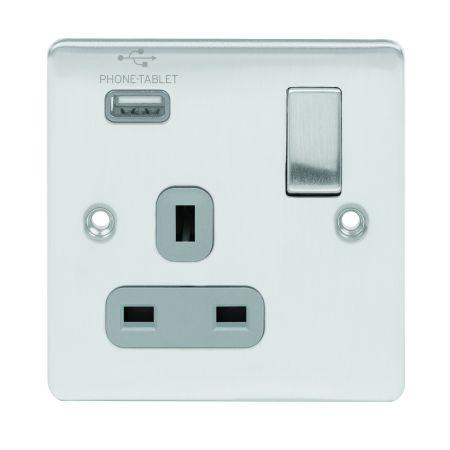 Premium Edge 1 Gang 13A DP Socket Brushed Chrome Grey Insert & USB D-S131USB-BCG