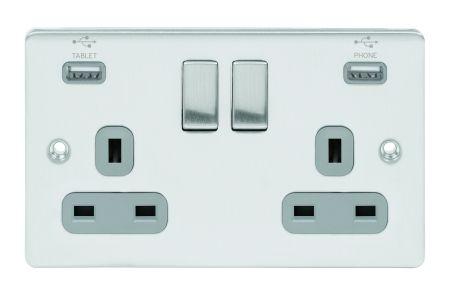 Niglon Premium Edge S Brushed Chrome 13A Double Socket & USB Grey Insert | D-S132USB-BCG