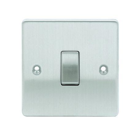 Premium Edge 1 Gang 2 Way Brushed Chrome 10AX Light Switch D-SP612-BCM