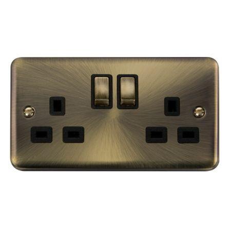 Click Deco Plus Antique Brass 13A Double Socket Black Insert DPAB536BK