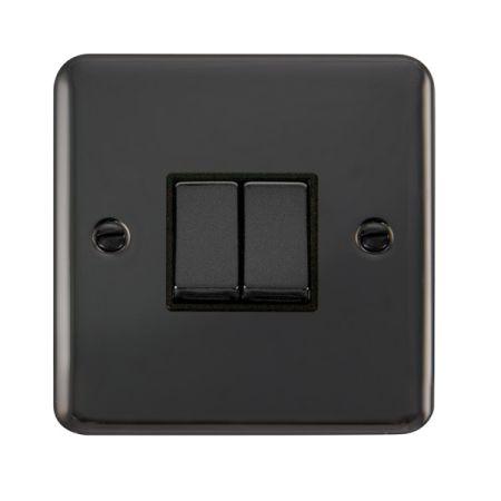 Click Deco Plus Black Nickel 2 Gang Light Switch Black Insert DPBN412BK