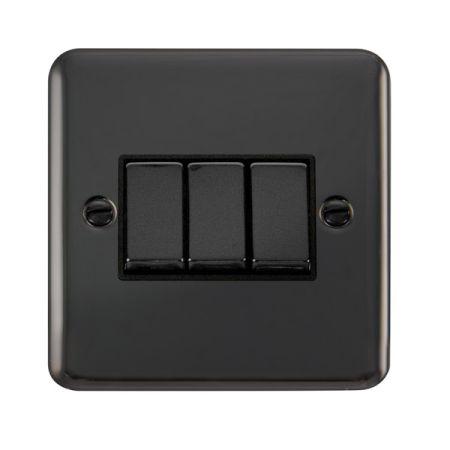 Click Deco Plus Black Nickel 3 Gang Light Switch Black Insert DPBN413BK