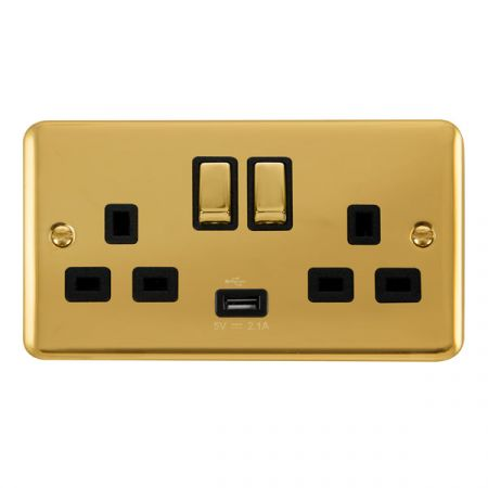 Click Deco Plus Polished Brass 13a Double Socket With USB Black Insert DPBR570BK