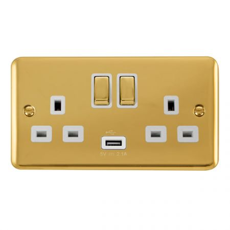 Click Deco Plus Polished Brass 13a Double Socket With USB White Insert DPBR570WH