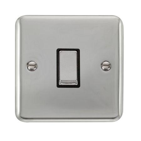 Click Deco Plus Polished Chrome 1 Gang Light Switch Black Insert DPCH411BK