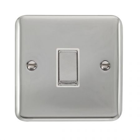 Click Deco Plus Polished Chrome 1 Gang Light Switch White Insert DPCH411WH