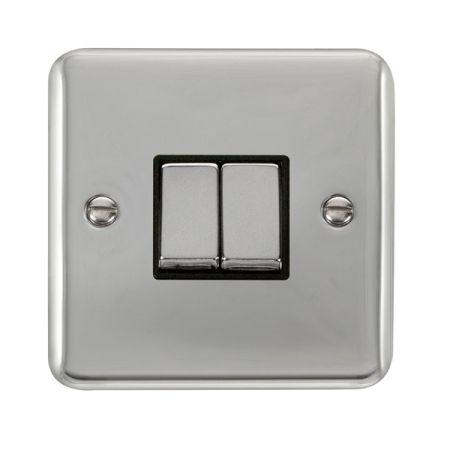 Click Deco Plus Polished Chrome 2 Gang Light Switch Black Insert DPCH412BK