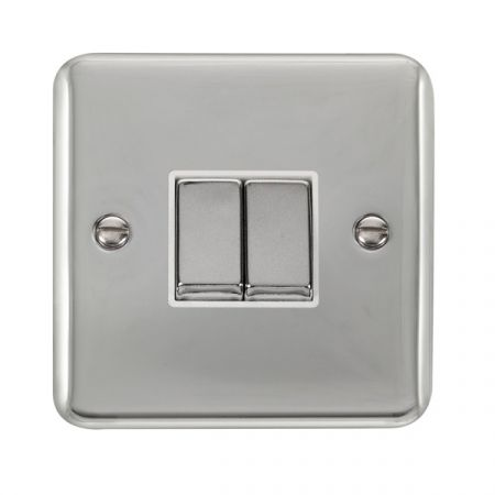 Click Deco Plus Polished Chrome 2 Gang Light Switch White Insert DPCH412WH