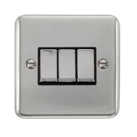 Click Deco Plus Polished Chrome 3 Gang Light Switch Black Insert DPCH413BK