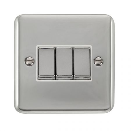 Click Deco Plus Polished Chrome 3 Gang Light Switch White Insert DPCH413WH