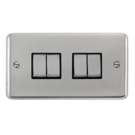 Click Deco Plus Polished Chrome 4 Gang Light Switch Black Insert DPCH414BK