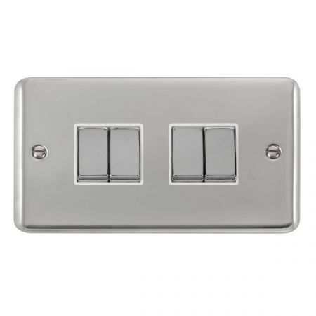 Click Deco Plus Polished Chrome 4 Gang Light Switch White Insert DPCH414WH