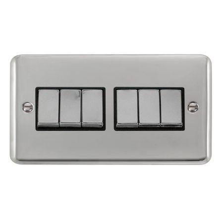 Click Deco Plus Polished Chrome 6 Gang Light Switch Black Insert DPCH416BK