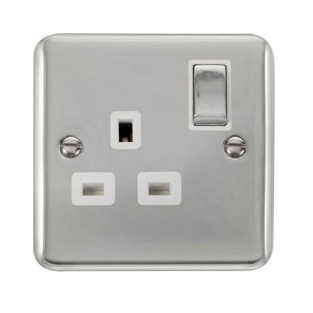 Click Deco Plus Polished Chrome 13A Single Socket White Insert DPCH535WH