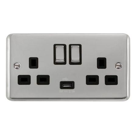 Click Deco Plus Polished Chrome 13a Double Socket With USB Black Insert DPCH570BK