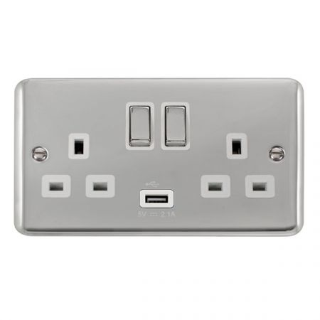 Click Deco Plus Polished Chrome 13a Double Socket With USB White Insert DPCH570WH