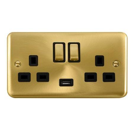 Click Deco Plus Satin Brass 13a Double Socket With USB Black Insert DPSB570BK