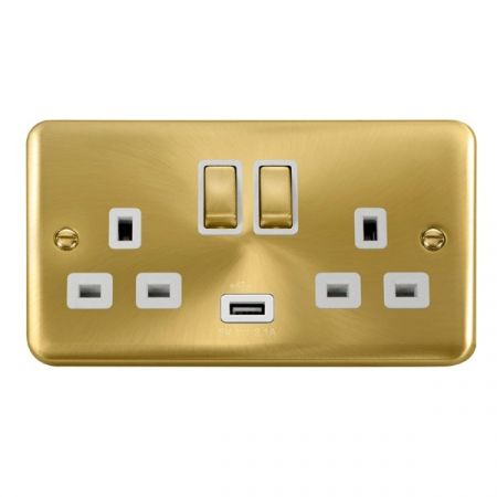 Click Deco Plus Satin Brass 13a Double Socket With USB White Insert DPSB570WH