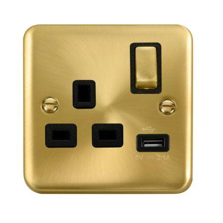 Click Deco Plus Satin Brass 13a Single Socket With USB Black Insert DPSB571BK