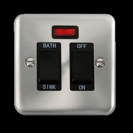 Click Deco Plus Satin Chrome 20A DP Sink/Bath Switch With Neon Black Insert | DPSC024BK