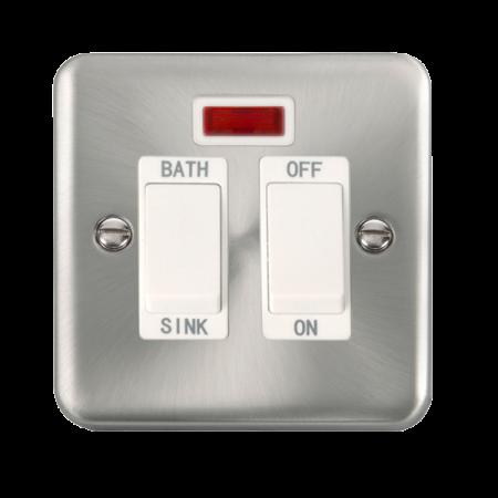 Click Deco Plus Satin Chrome 20A DP Sink/Bath Switch With Neon White Insert | DPSC024WH