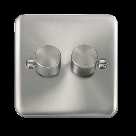 Click Deco Plus Satin Chrome 2 Gang 2 Way 400Va Dimmer Switch | DPSC152