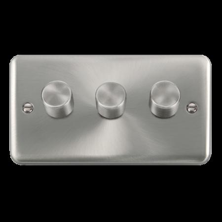 Click Deco Plus Satin Chrome 3 Gang 2 Way 400Va Dimmer Switch | DPSC153