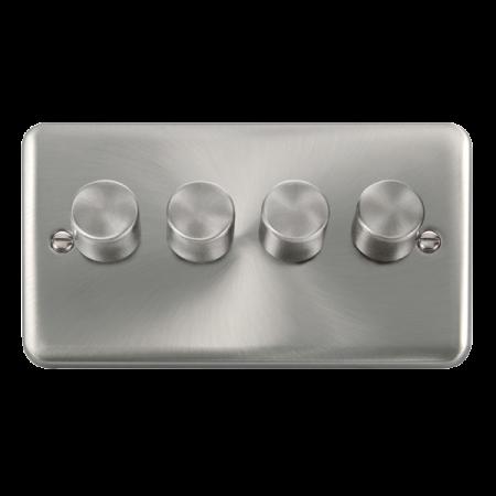 Click Deco Plus Satin Chrome 4 Gang 2 Way 400Va Dimmer Switch | DPSC154