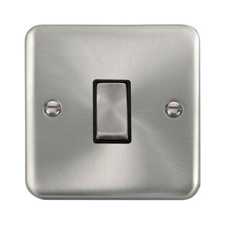 Click Deco Plus Satin Chrome 1 Gang Light Switch Black Insert DPSC411BK