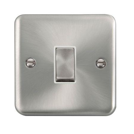 Click Deco Plus Satin Chrome 1 Gang Light Switch White Insert DPSC411WH