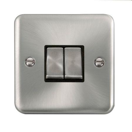 Click Deco Plus Satin Chrome 2 Gang Light Switch Black Insert DPSC412BK