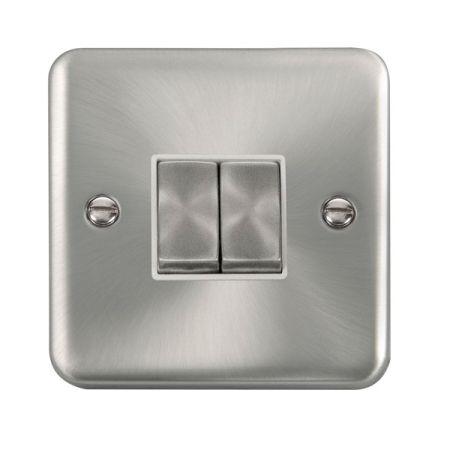 Click Deco Plus Satin Chrome 2 Gang Light Switch White Insert DPSC412WH