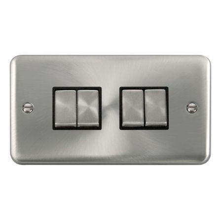 Click Deco Plus Satin Chrome 4 Gang Light Switch Black Insert DPSC414BK