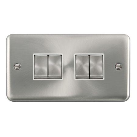 Click Deco Plus Satin Chrome 4 Gang Light Switch White Insert DPSC414WH