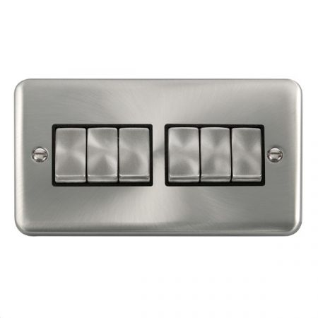 Click Deco Plus Satin Chrome 6 Gang Light Switch Black Insert DPSC416BK