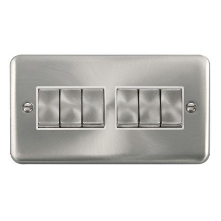 Click Deco Plus Satin Chrome 6 Gang Light Switch White Insert DPSC416WH