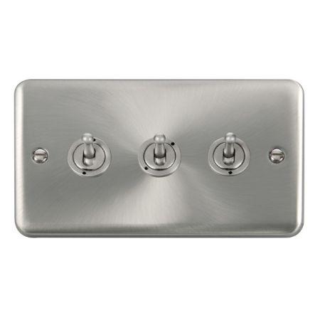 Click Deco Plus Satin Chrome 3 Gang 10A Toggle Switch DPSC423
