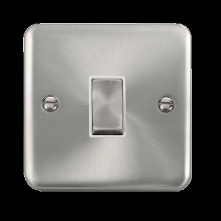 Click Deco Plus Satin Chrome 10AX Ingot 1 Gang Intermediate Plate Switch White Insert | DPSC425WH