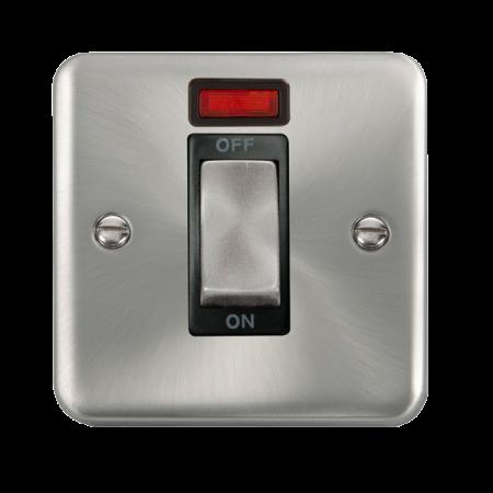 Click Deco Plus Satin Chrome 45A Ingot 1 Gang DP Switch With Neon Black Insert | DPSC501BK
