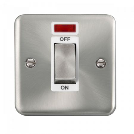 Click Deco Plus Satin Chrome 45A Ingot 1 Gang DP Switch With Neon White Insert | DPSC501WH