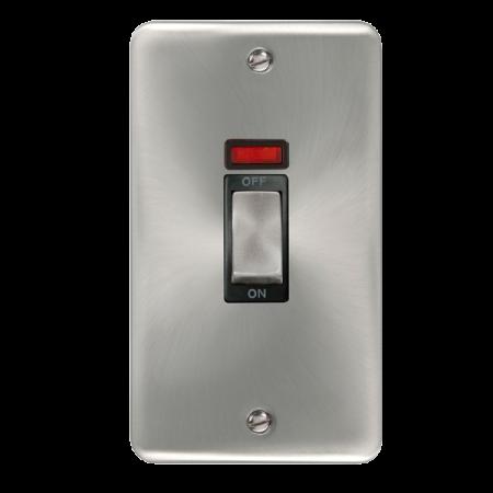 Click Deco Plus Satin Chrome 45A Ingot 2 Gang DP Switch With Neon Black Insert | DPSC503BK