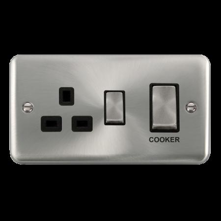 Click Deco Plus Satin Chrome 45A Ingot 2 Gang DP Switch With 13A DP Switched Socket Black Insert | DPSC504BK
