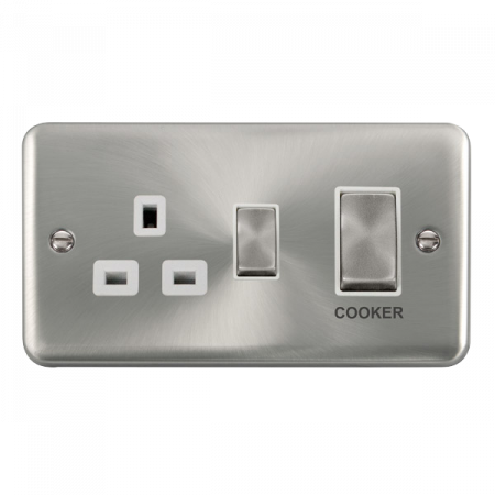 Click Deco Plus Satin Chrome 45A Ingot 2 Gang DP Switch With 13A DP Switched Socket White Insert | DPSC504WH
