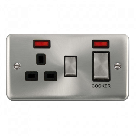 Click Deco Plus Satin Chrome 45A Ingot 2 Gang DP Switch With 13A DP Switched Socket & Neon Black Insert | DPSC505BK