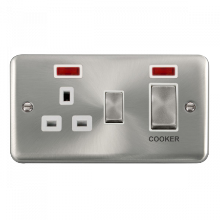 Click Deco Plus Satin Chrome 45A Ingot 2 Gang DP Switch With 13A DP Switched Socket & Neon White Insert | DPSC505WH