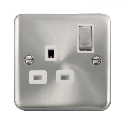Click Deco Plus Satin Chrome 13A Single Socket White Insert DPSC535WH