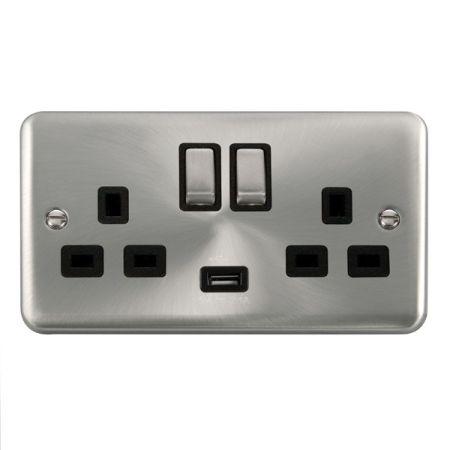 Click Deco Plus Satin Chrome 13a Double Socket With USB Black Insert DPSC570BK