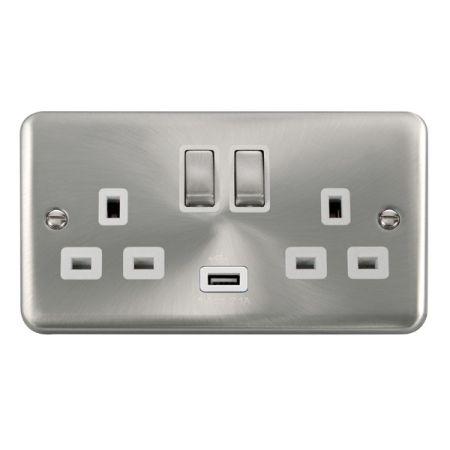 Click Deco Plus Satin Chrome 13a Double Socket With USB White Insert DPSC570WH