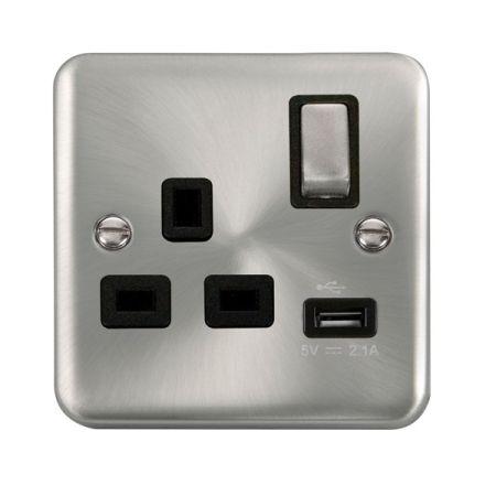 Click Deco Plus Satin Chrome 13a Single Socket With USB Black Insert DPSC571BK