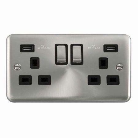 Click Deco Plus Satin Chrome 13a Socket With 2 x 2.1A USB Black Insert | DPSC580BK